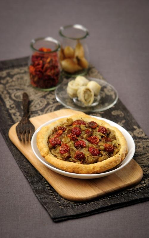 Tarte aux mini-coeurs d'artichauts et tomates séchées